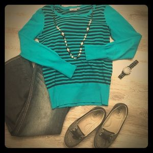Teal and black striped sweater